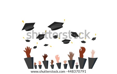 Graduate students of pupil hands in gown throwing graduation caps in the air, Graduation Ceremony.