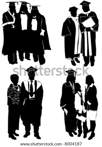 graduate with family - stock vector