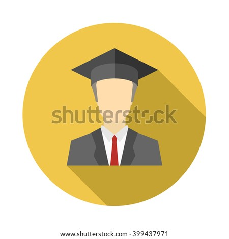 Graduated boy, man in an academic cap icon. Avatar and person illustration. Flat colored icon with long shadow. Vector illustration. - stock vector