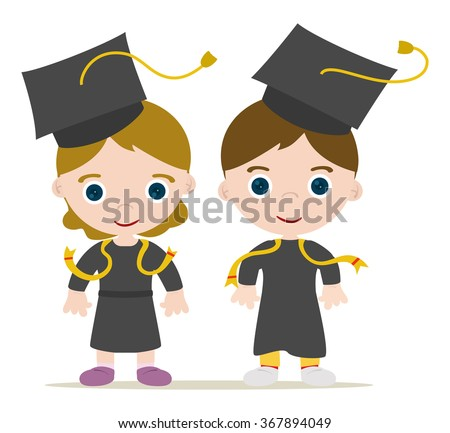 Graduated kids, girl and boy - stock vector