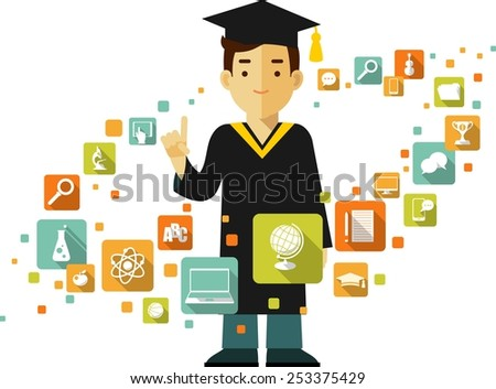 Graduates concept with young graduates student and education icons in flat style - stock vector
