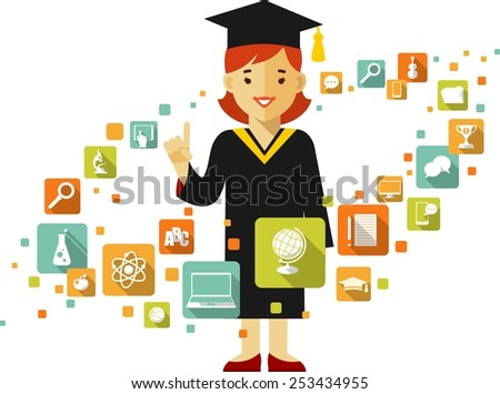 Graduates concept with young graduates student girl and education icons in flat style - stock vector