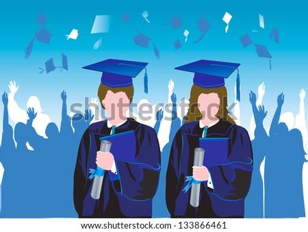 Graduates in silhouette - stock vector