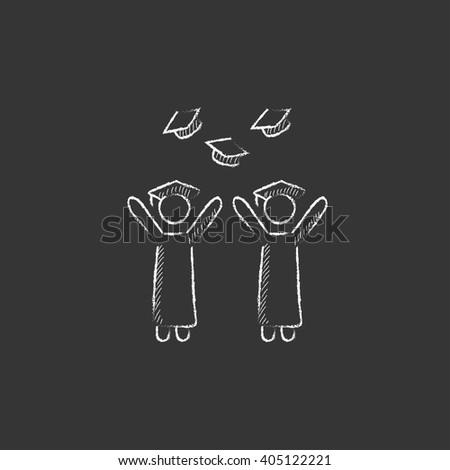 Graduates throwing caps. Drawn in chalk icon. - stock vector