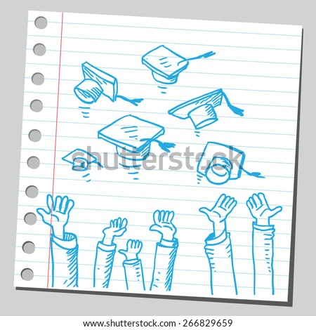 Graduates tossing  caps - stock vector