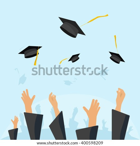 Graduating students of pupil hands in gown throwing graduation caps in the air, flying academic hats, throw mortar boards in the sky flat cartoon vector illustration design isolated on blue background - stock vector