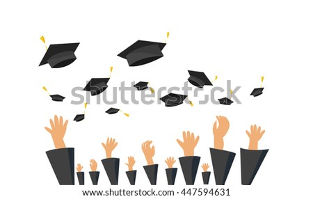 Graduating students of pupil hands in gown throwing graduation caps in the air vector,