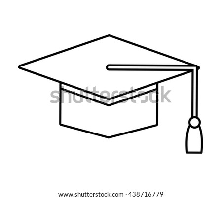 Graduation and university concept. graduation cap  icon. vector  - stock vector