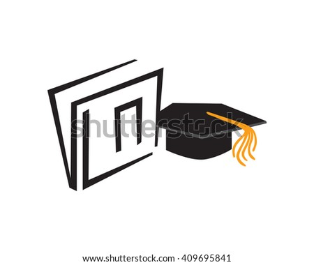 Graduation Cap and Book for Academic Theme - stock vector