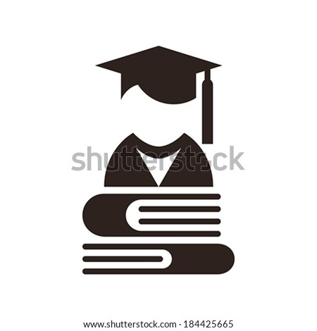Graduation Cap and books. Education symbol isolated on white background - stock vector