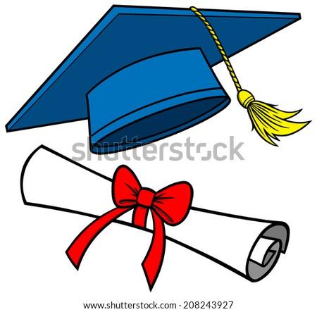 graduation cap diploma stock vector 2018 208243927 shutterstock rh shutterstock com graduation-cap-diploma-clipart cap and gown diploma clipart