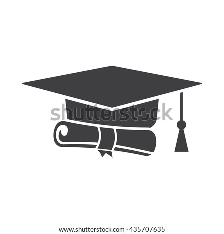 graduation cap diploma black web icon stock vector  graduation cap and diploma black web icon on the white background