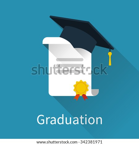 Graduation cap and diploma. Icon in a flat design with long shadow. Vector illustration - stock vector