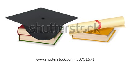 graduation cap and diploma laying on stacks of books vector