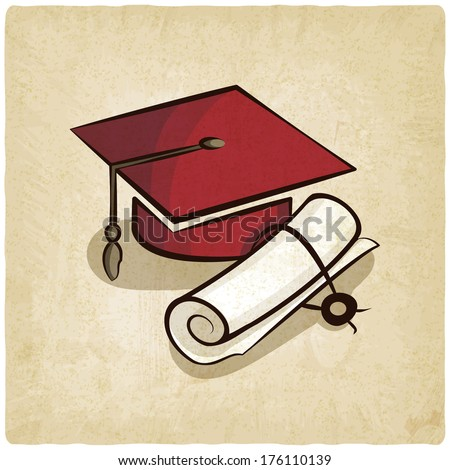 Graduation cap and diploma old background - vector illustration - stock vector