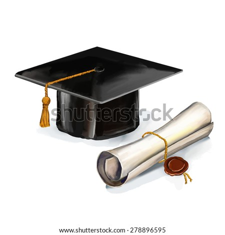 graduation cap and diploma vector illustration  hand drawn  painted watercol