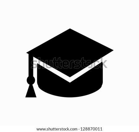 Graduation cap black icon vector - stock vector