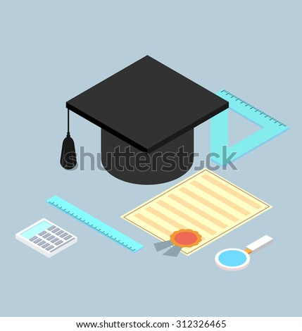 graduation cap, diploma, school accessories certificate colorful flat style vector illustration