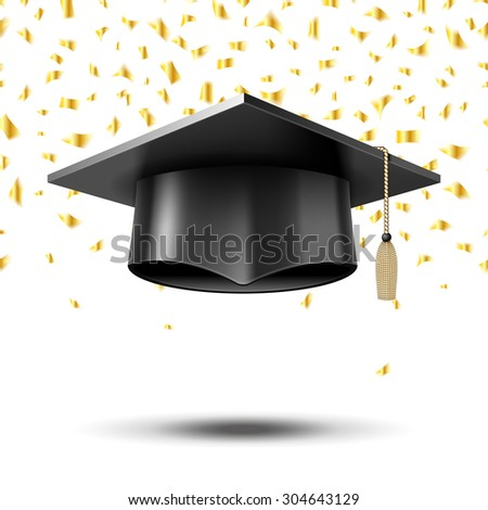 Graduation cap, education concept background. University college school, hat and degree, vector illustration - stock vector