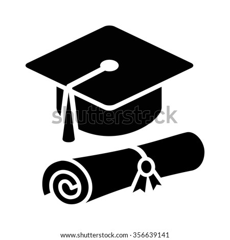 Graduation cap / hat with diploma flat icon for apps and websites - stock vector