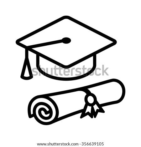 Graduation cap / hat with diploma line art icon for apps and websites - stock vector