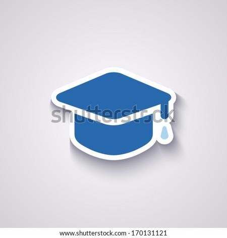graduation cap icon in blue colors with shadow - stock vector