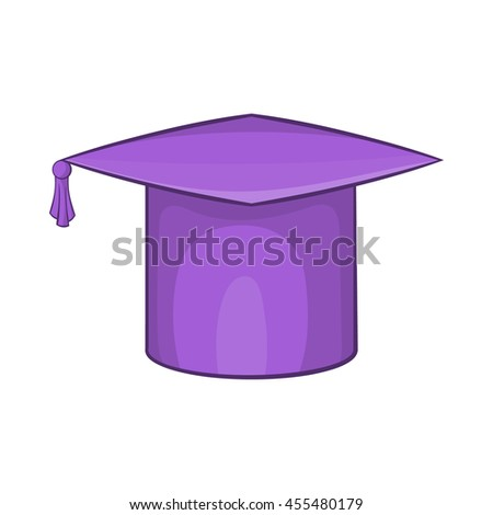 Graduation cap icon in cartoon style on a white background