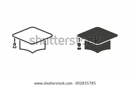 Graduation cap icon on white background. Vector illustration. - stock vector