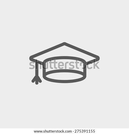 Graduation cap icon thin line for web and mobile, modern minimalistic flat design. Vector dark grey icon on light grey background. - stock vector