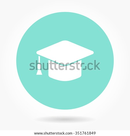 Graduation cap  icon   - vector icon in white on a green background. - stock vector