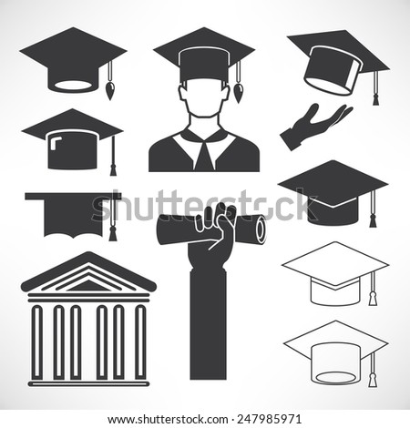 graduation cap icons, education concept icons - stock vector