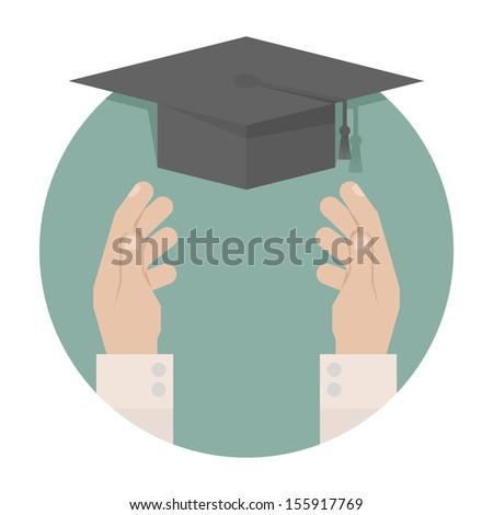 Graduation cap in hand , eps10 vector format - stock vector