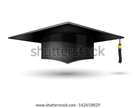 Graduation Cap  isolated on white background - stock vector