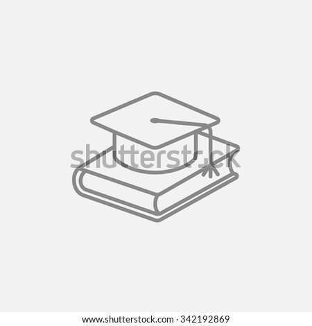 Graduation cap laying on book line icon for web, mobile and infographics. Vector dark grey icon isolated on light grey background. - stock vector