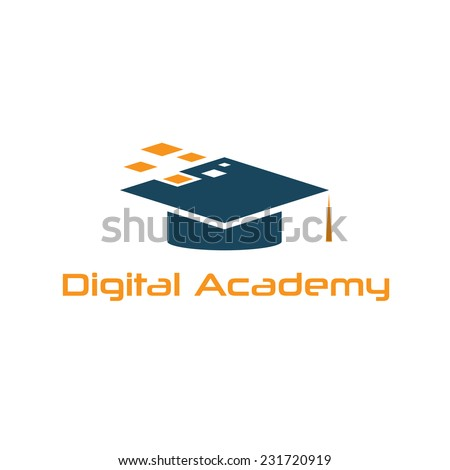 Graduation cap of digital academy vector design template  - stock vector