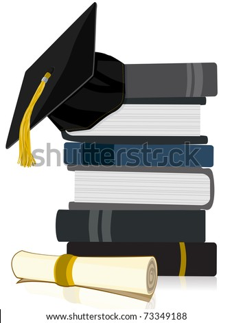 Graduation Cap on Book Stack with Diploma - stock vector