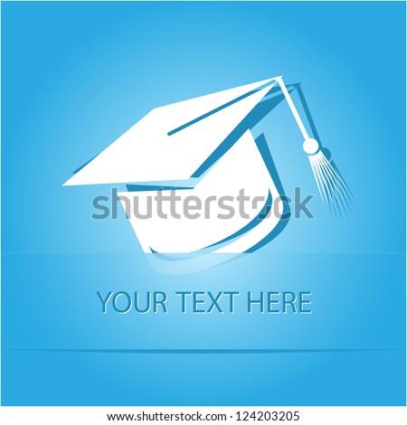 Graduation cap. Paper sticker as bookmark. Vector illustration. Eps10. - stock vector
