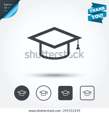 Graduation cap sign icon. Higher education symbol. Circle and square buttons. Flat design set. Thank you ribbon. Vector - stock vector