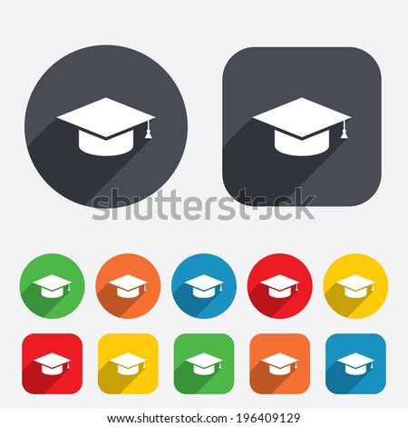 Graduation cap sign icon. Higher education symbol. Circles and rounded squares 12 buttons. Vector - stock vector