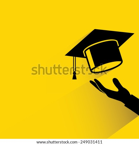 graduation cap thrown in the air, yellow background - stock vector