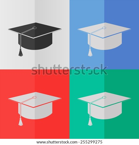 Graduation cap vector icon. Effect of folded paper. Colored (red, blue, green) illustrations. Flat design - stock vector