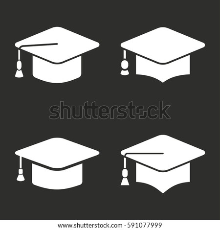 Graduation Cap Vector Icons Set White Stock Vector ...