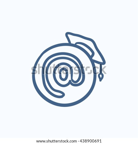 Graduation cap with at sign vector sketch icon isolated on background. Hand drawn Graduation cap with at sign icon. Graduation cap with at sign sketch icon for infographic, website or app. - stock vector