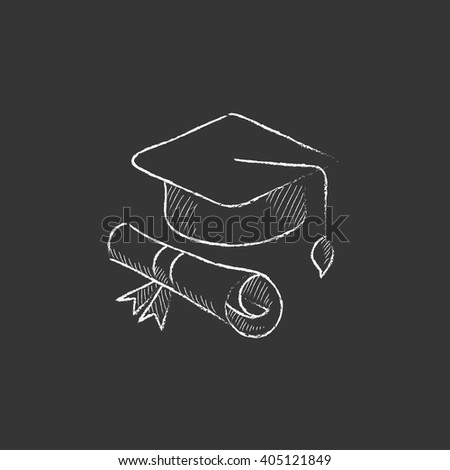 Graduation cap with paper scroll. Drawn in chalk icon. - stock vector