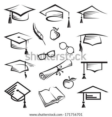 graduation caps - stock vector