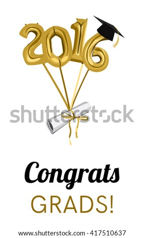 graduation 2016 celebration graduation ceremony or party invitation graduate diploma cap and balloons - Graduation Ceremony Invitation