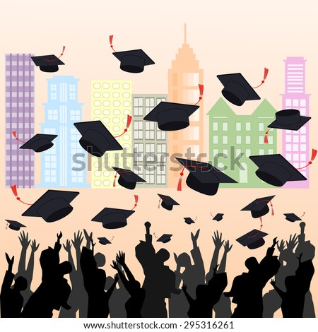 graduation ceremony shadow group of people and hat on colour building background - stock vector