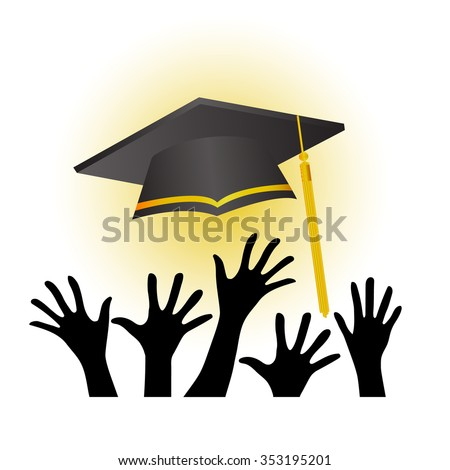 graduation ceremony shadow hands of people and hat background - stock vector