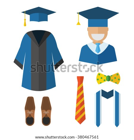 Graduation clothes and accessories set. Graduate gown, tie, ribbon, shoes, bow-tie and hat with graduation happy guy vector icon isolated on white. Graduation ceremony dress wear man set. - stock vector