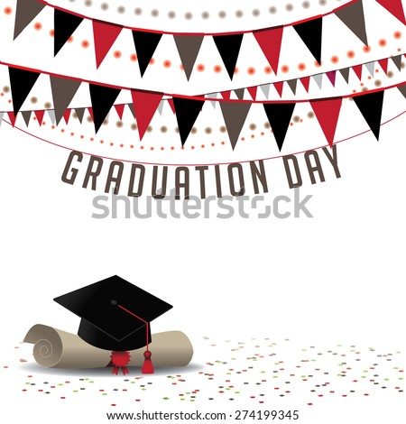 Graduation Day background EPS 10 vector royalty free stock illustration for greeting card, ad, promotion, poster, flier, blog, article, social media, marketing - stock vector